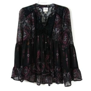 XS KNOX ROSE Gypsy Bell Sleeve See Through Blouse